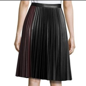 1.STATE faux leather pleated midi skirt size large